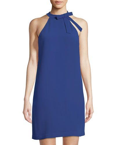 2dae012c425 CECE BY CYNTHIA STEFFE TIE-NECK HALTER CREPE SHIFT DRESS.   cecebycynthiasteffe  cloth