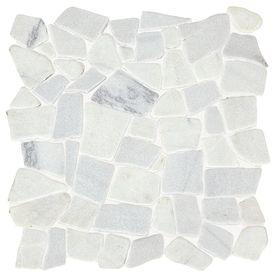American Olean Genuine Stone Refined White Pebble Mosaic Marble - American olean 2x2 mosaic tile