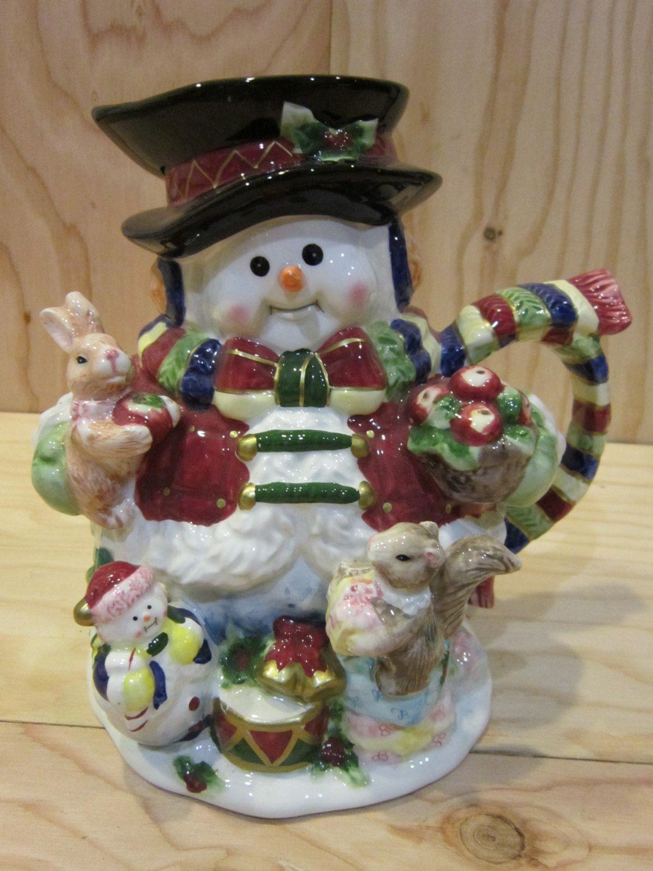 Large Ceramic Snowman Beverage Serving Pitcher Christmas Beverage