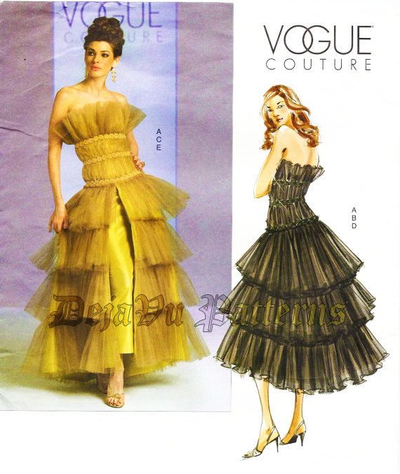 Vogue 2904 Misses' Avante Garde Couture Tiered Tulle Evening Gown Sewing Pattern by DejaVuPatterns on Etsy