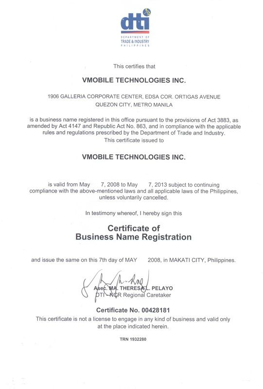 VMobile\u0027s DTI Certificate VMobile\u0027s Legal Documents Pinterest