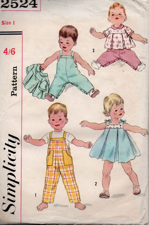 Simplicity 2524 Baby Toddlers Dress Overalls Smock Top 50s Vintage ...