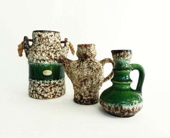 Collection 3 retro Jopeko vases fat lava van Retromania1331 op Etsy, £35.00