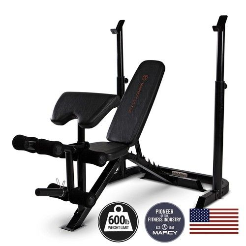 Marcy Mkb869 Club Deluxe Midsize Bench Squats Lunges Weight Benches At Home Gym