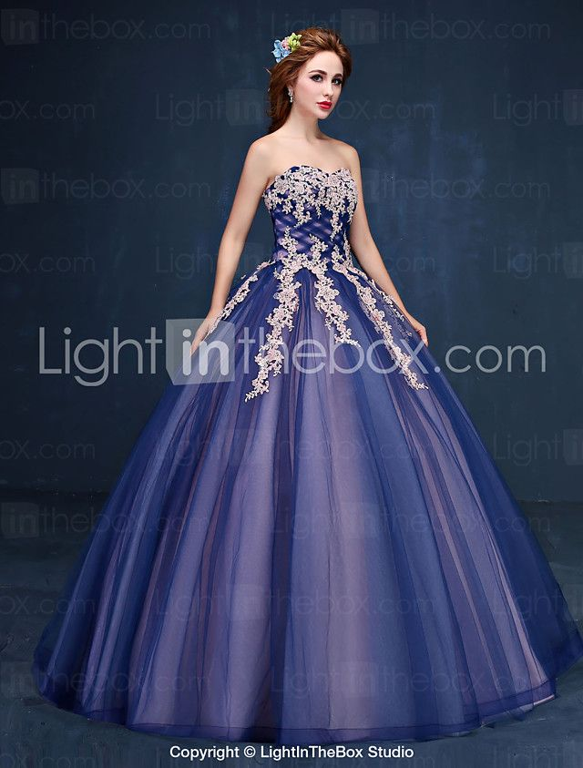 Ball Gown Princess Strapless Floor Length Tulle Formal Evening Dress ...