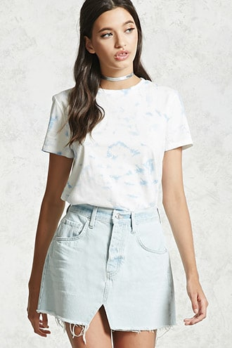 11a4152e4b Raw-Cut Denim Mini Skirt