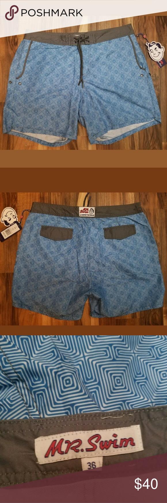 159f46e221 Mr. Swim Mens Chuck Maze Blue Swim Trunks Size 36 Mr. Swim shorts Men's