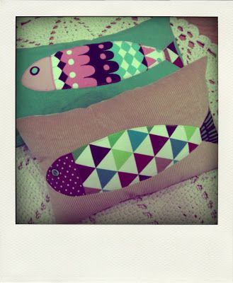 Fishy pillows: two pillow cases with fish pictures