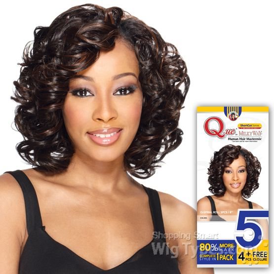 Milky Way Que Human Hair Blend Weave Short Cut Series Spiral Roll
