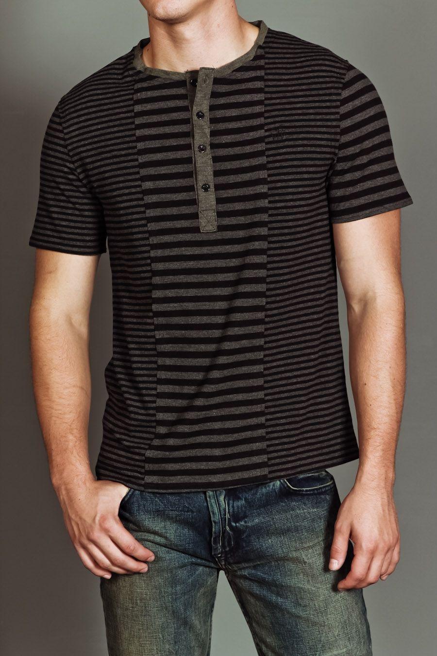 Doppleganger Logan Striped S/S Henley Black/Charcoal