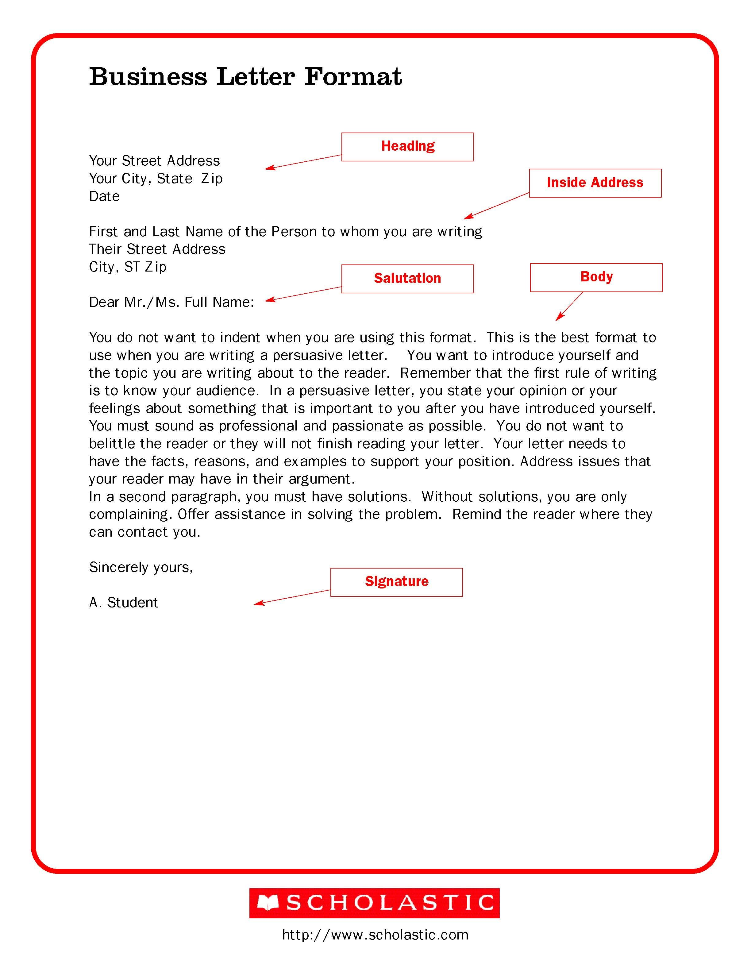 printable sample business letter template form - Business Letter Format Template