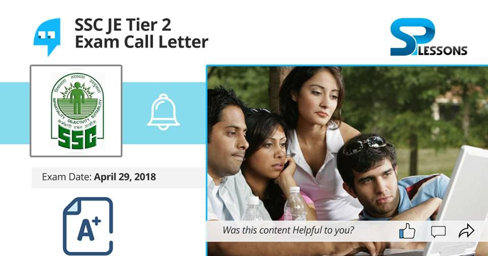 Ssc Je Tier 2 Exam Call Letter Lettering Management Assistant