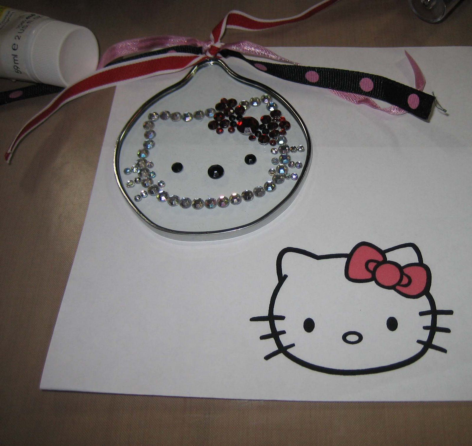 Hello Kitty Christmas Ornament used a print out from the