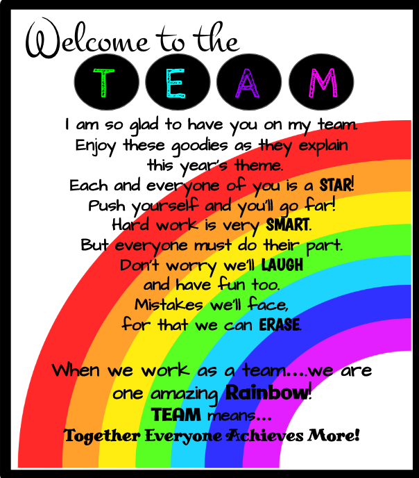 Welcome to the Team Goodie Bags | School | Classroom themes