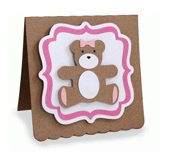 Framed Teddy Bear Card 3D , girls, boys , free confetti , birthday , announcement , congratulations , kids by patchandpeanut on Etsy