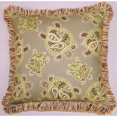 Creative Home Tranquil Turtles Fringed Cotton Throw Pillow   Wayfair