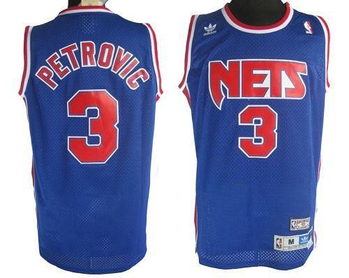 Nets  3 Drazen Petrovic Blue Embroidered Throwback NBA Jersey! Only   20.50USD 75b8fb403