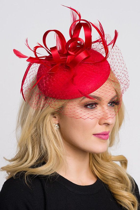 Red Fascinator  Juliet Felt Round Sinamay w/ by PippaAndPearl
