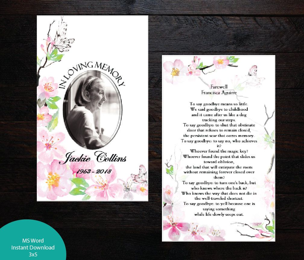 Printable Funeral Prayer Card 3 X 5 And 2 5 X 3 5 Wallet