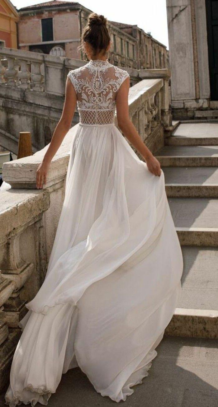 langes bohemian hochzeitskleid tüll spitze sommerhochzeit - The