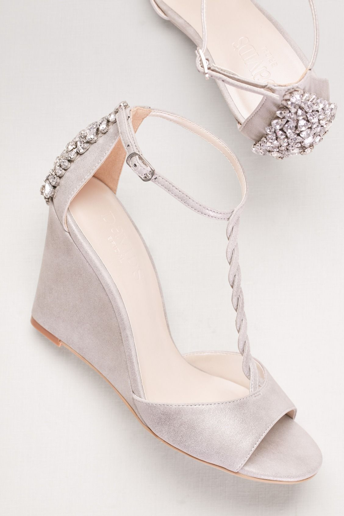 c7db10406 Braided T-Strap Bridal Wedges with Crystals available at David s Bridal