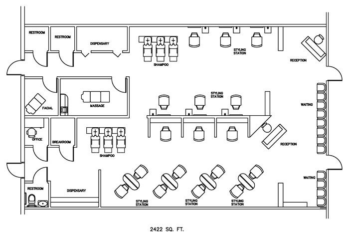 Salon floor plan design layout 2422 square feet salon for Salon floor plans free