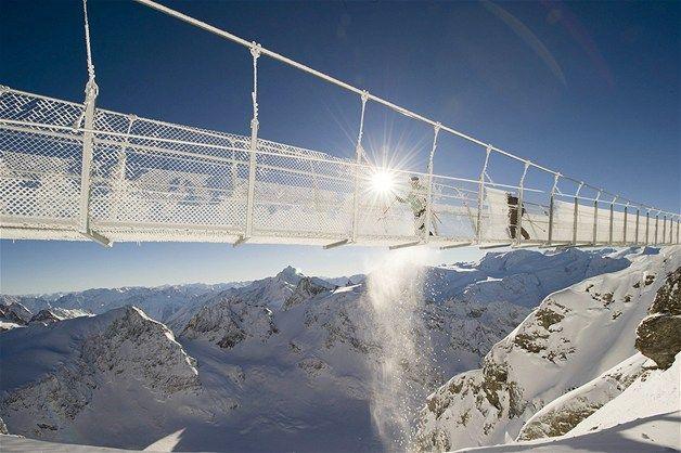 Dec. 16, 2012: Tourists cross the Titlis Cliff Walk, the highest rope bridge in Europe, at an altitude about 10,000 feet in Titlis, Switzerland