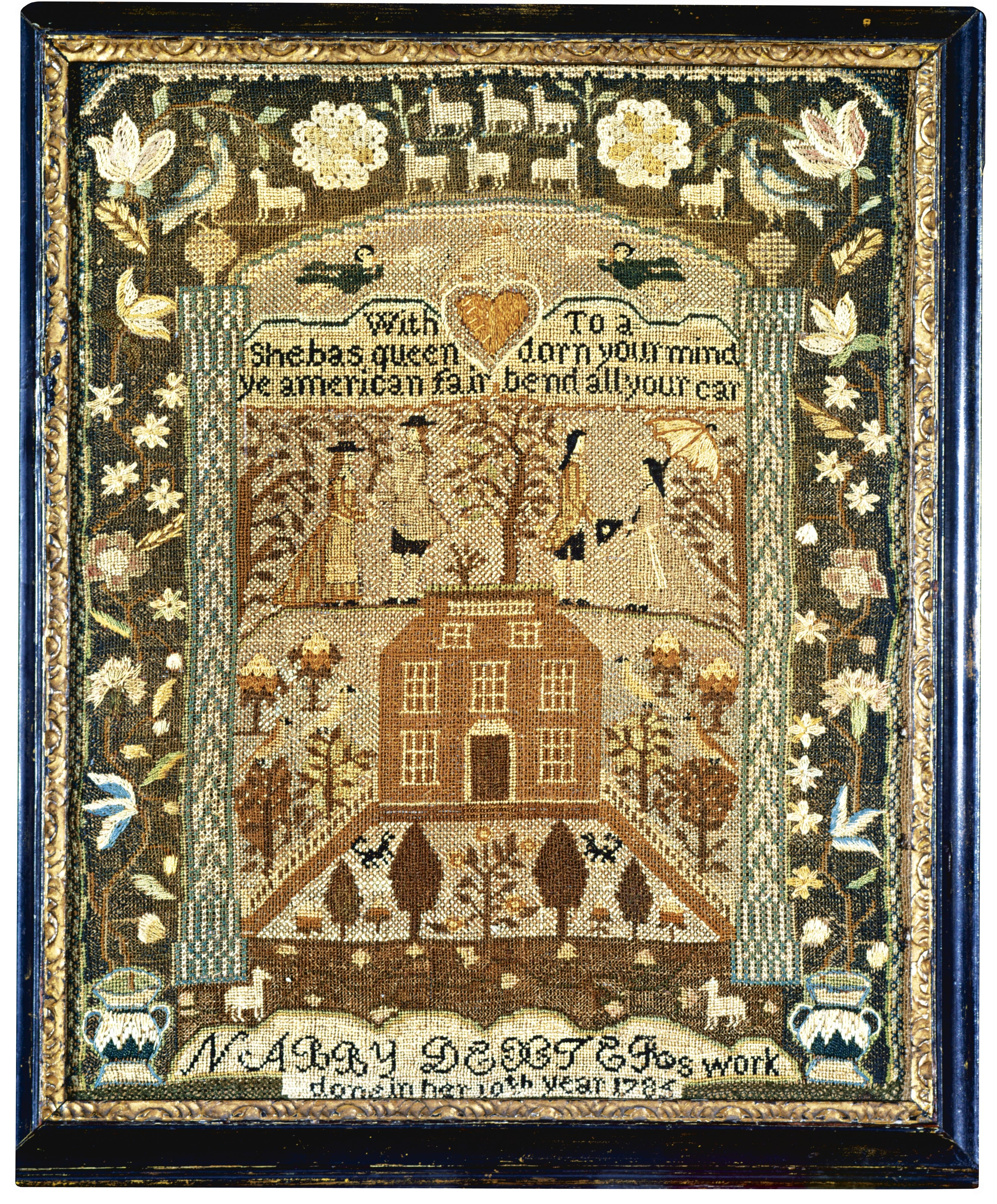 Nabby Dexter - Mary Balch's School - Providence, Rhode Island - 1785. Aged 10. Silk allover on linen. Betty Ring collection. Sold for 40,625 USD