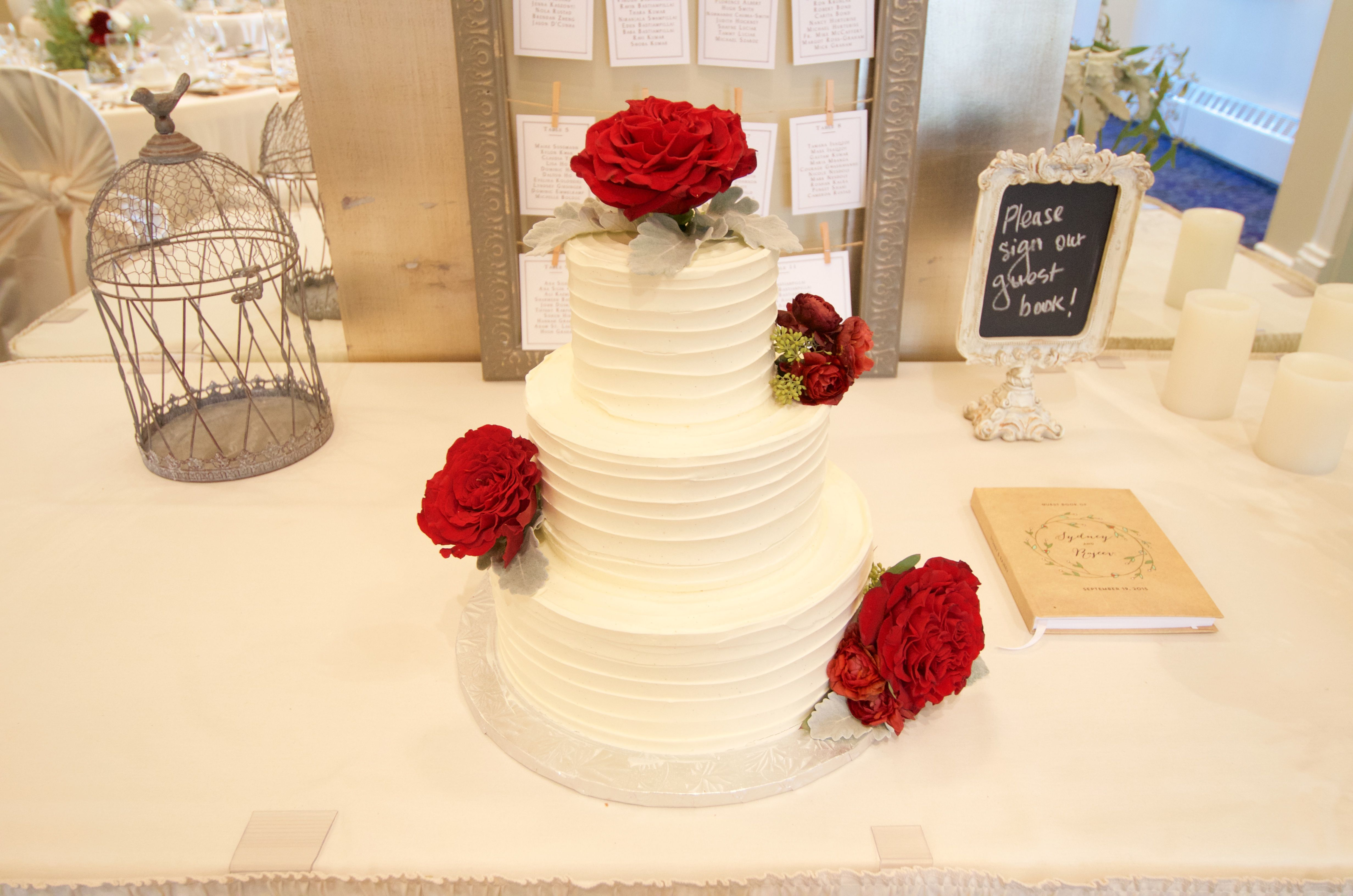 Spatula Swirl buttercream three tier wedding cake and Real Red Roses ...