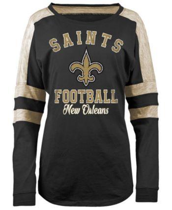 01048526 5th & Ocean Women's New Orleans Saints Space Dye Long Sleeve T-Shirt ...