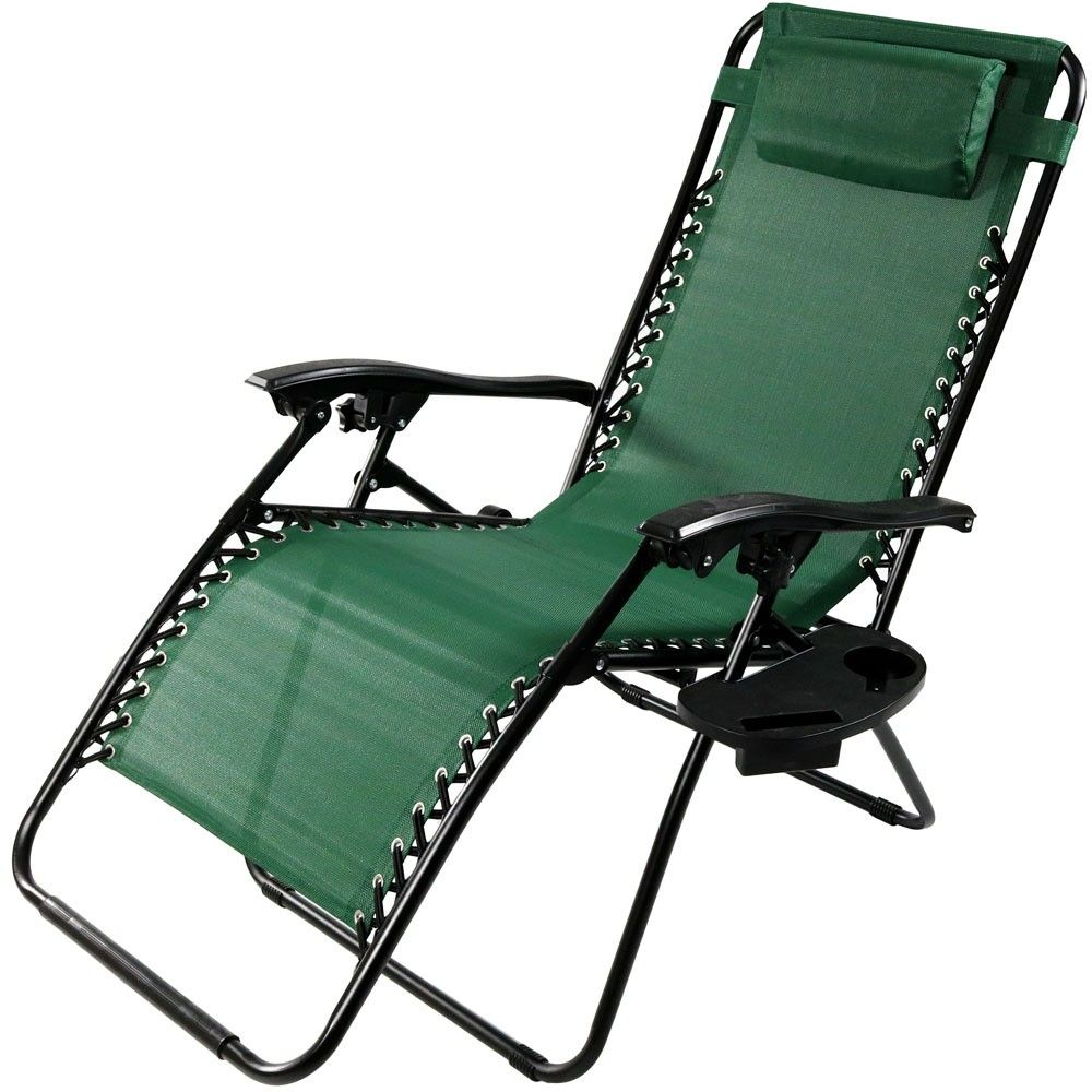 Oversized Zero Gravity Lounge Chair with Pillow and Cup