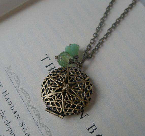 Locket Necklace  Antique brass locket with spring by RandLDesign, $20.00