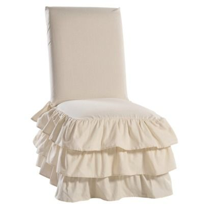 Ruffle 3 Tiered Dining Room Chair Slipcover Dining Chair Slipcovers Slipcovers For Chairs Dining Room Chair Slipcovers