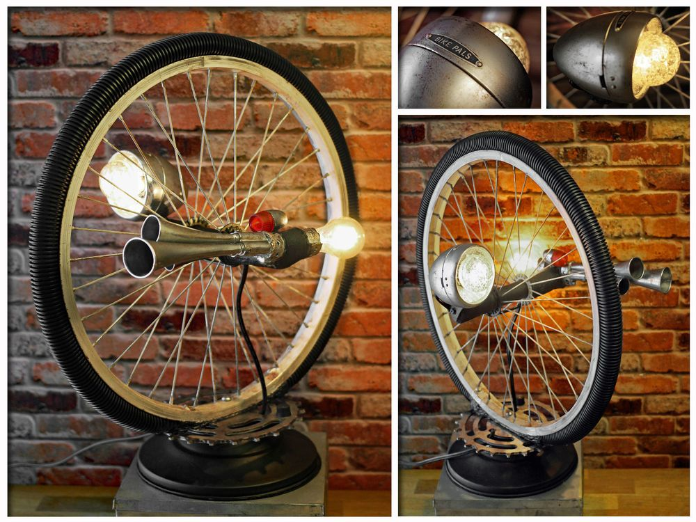 Industrial Repurposed Vintage Bike Rim Air Horn Chain