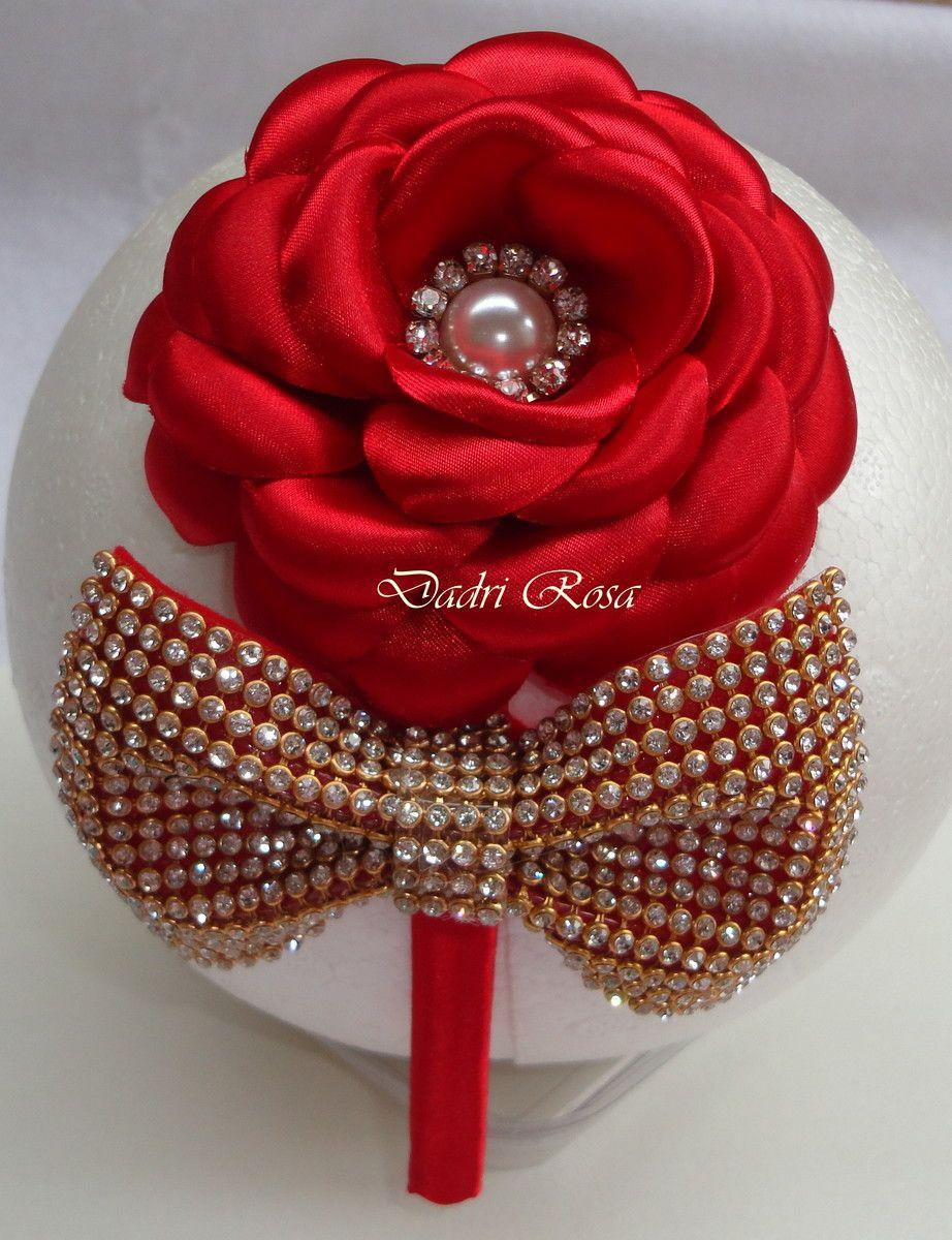 Tiaras De Luxo Vermelha   Dadri Rosa, tiaras e faixas   Elo7   tiara ... 97b167ab7a