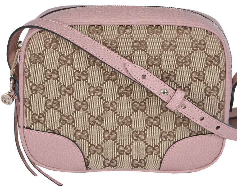 459193063 NEW Gucci 449413 Beige Pink Canvas Leather GG Guccissima BREE Crossbody  Purse #Gucci #MessengerCrossBody