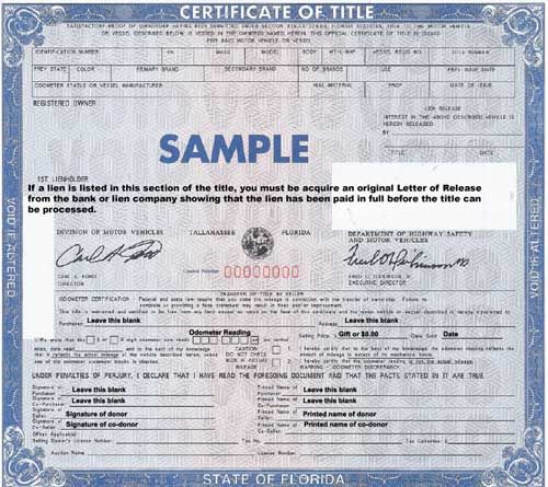 Donate Your Car For Charity Death Certificate Car Title Florida Law