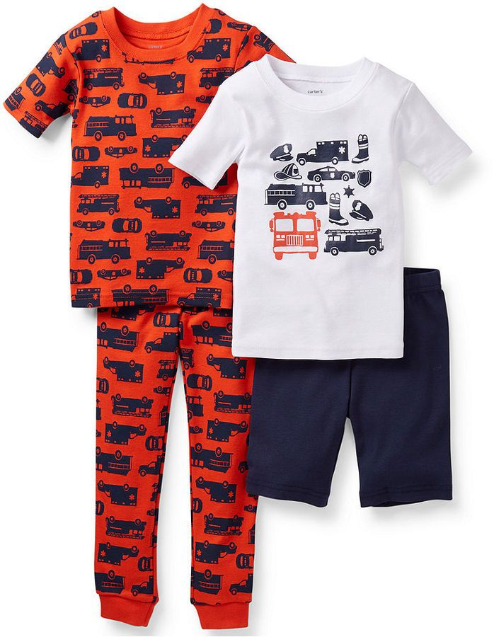 ab579656999b7 Carter's Toddler Boys' 4-Piece Fitted Fire Truck Pajamas on shopstyle.com