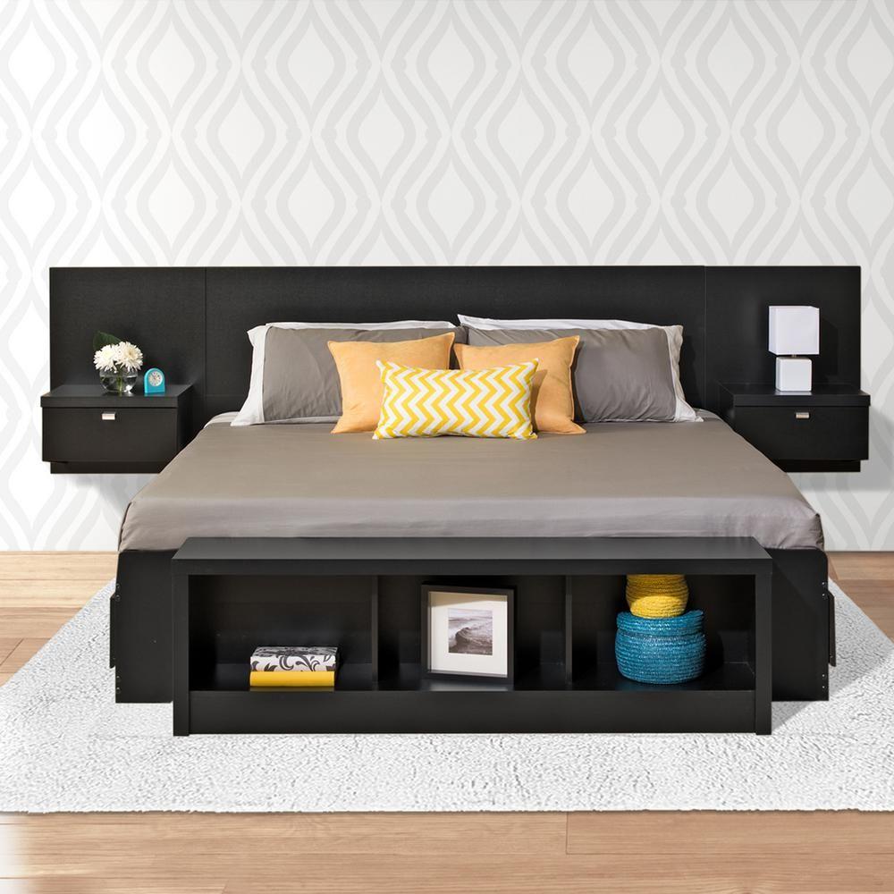 Prepac Series 9 1 Piece Black King Bedroom Set Floating Headboard Headboard Storage Headboard