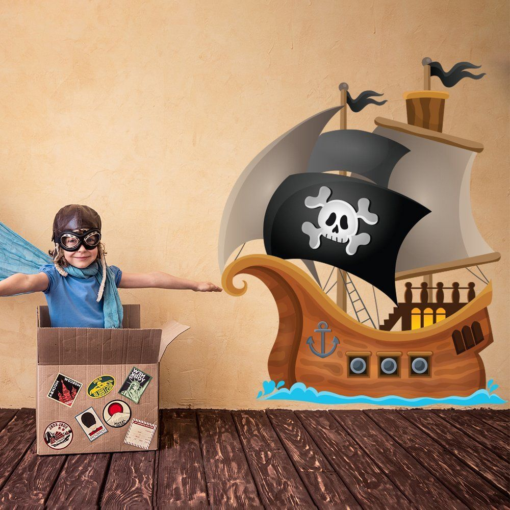 Pirate Wall Decal Jolly Roger Pirate Ship Wall Sticker Kids Bedroom ...
