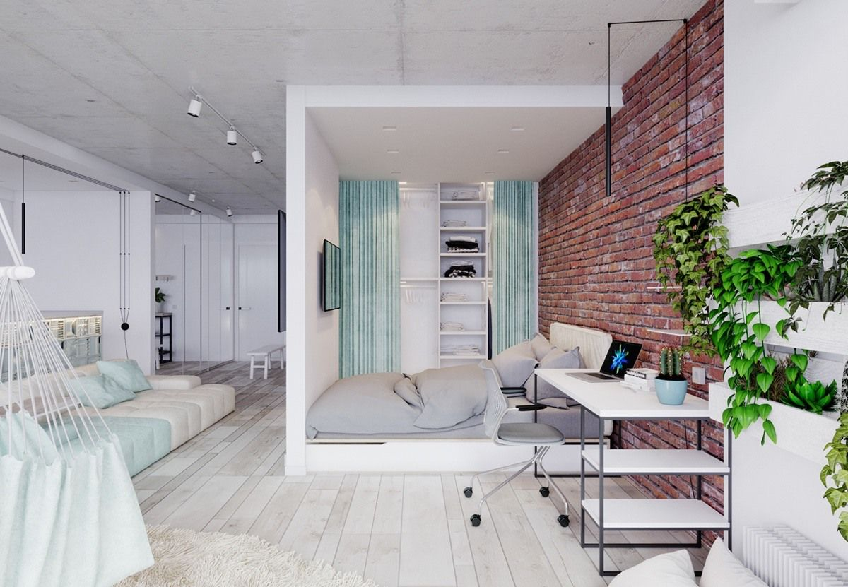 15 Bright Studio Apartments With Creative Bedroom Placement