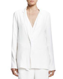 B2RJT Lanvin Soft Jacket with Grosgrain Snap, White