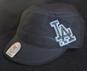 78ce013bc25 Los Angeles Dodgers Swarovski Crystal Rhinestone Military Cadet Hat.  www.babywantsbling.com