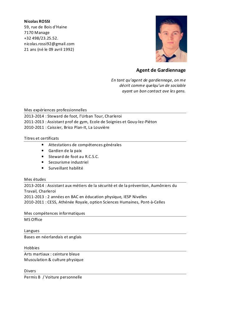 Cv Nicolas Rossi Agent De Gardiennage