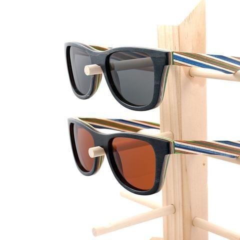 38257e0771 Polarized Wood Sunglasses with Layered Wooden Wayfarer Style Frame  4  Variants