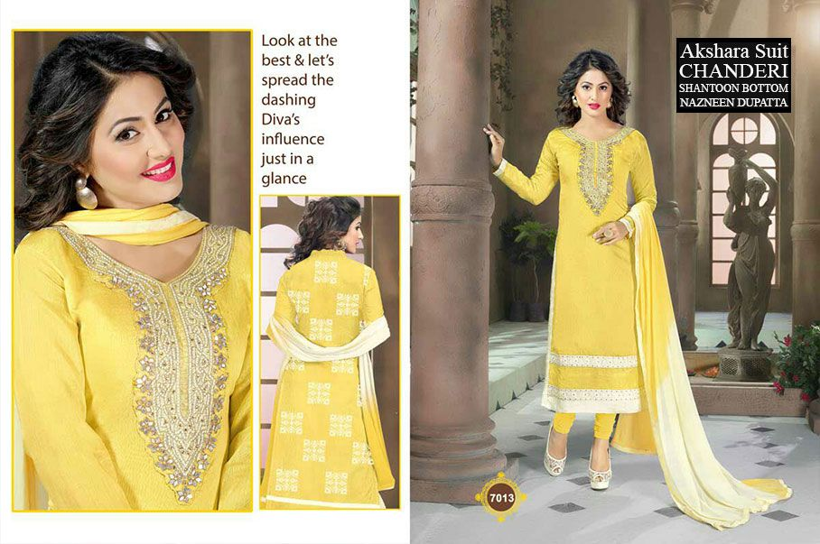 Akshara Pure Chanderi Churidar Suits For Order Please