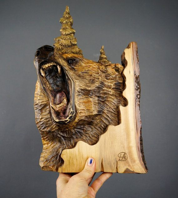 Grizzly bear carving wood with bark hand made gift