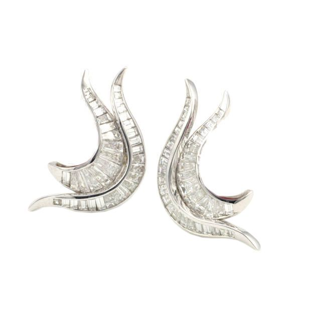 Platinum and Diamond Flame Earrings   From a unique collection of vintage clip-on earrings at https://www.1stdibs.com/jewelry/earrings/clip-on-earrings/