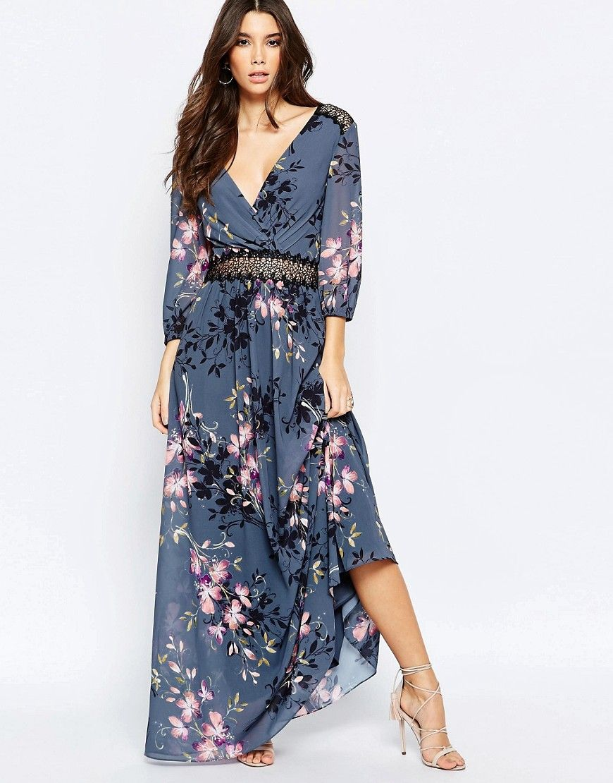 Image of little mistress floral print and lace maxi dress