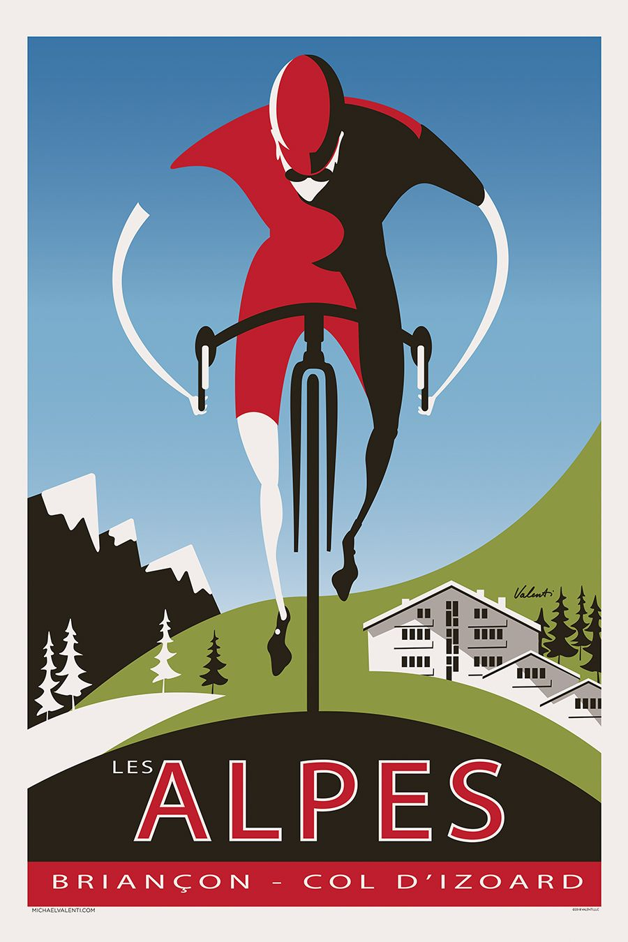 Fotodruck Poster The Alpes Cycling Art Print Cycling Classics Posters Cycling